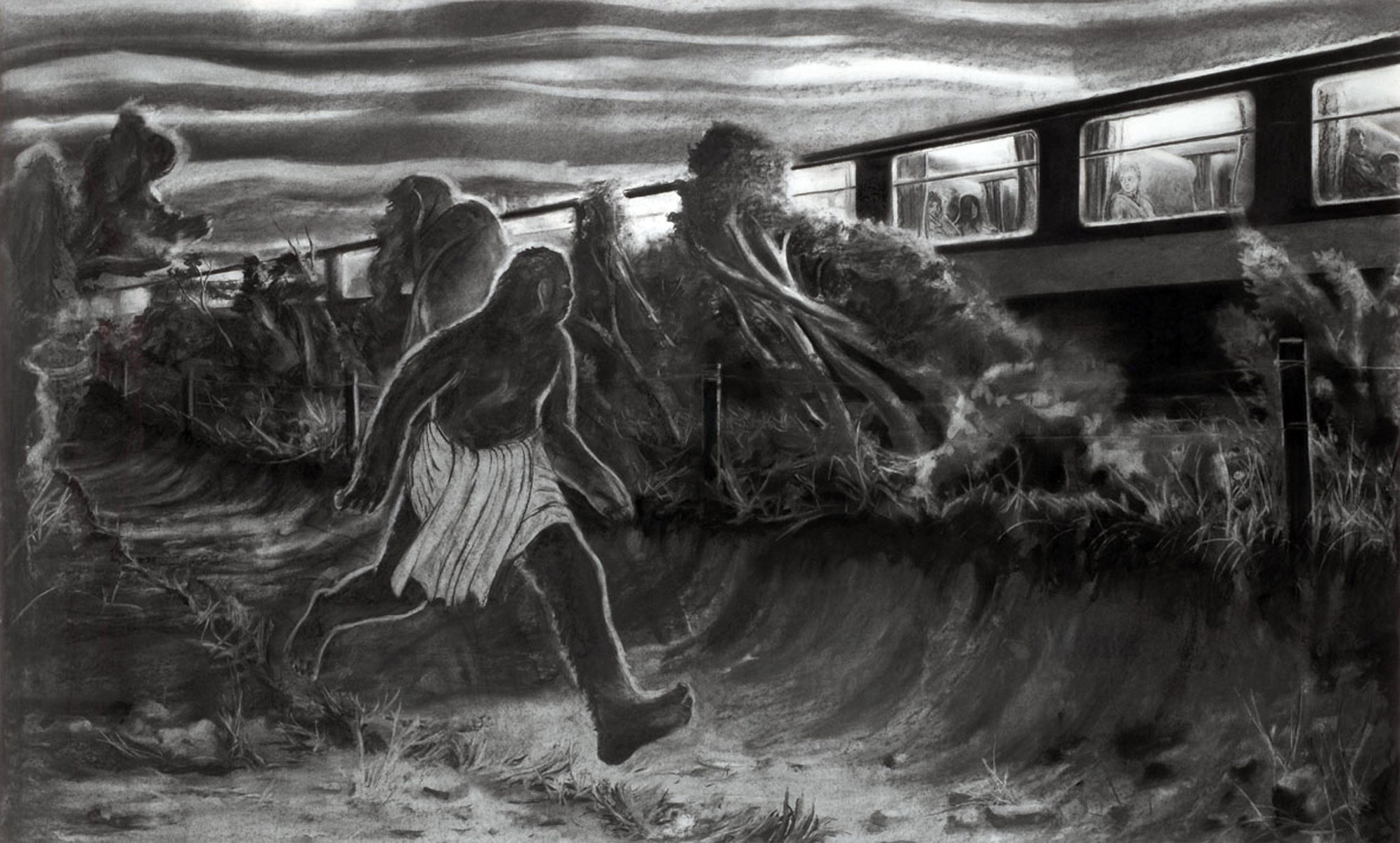 Escort, 2008<br>125x200cm<br>charcoal on paper