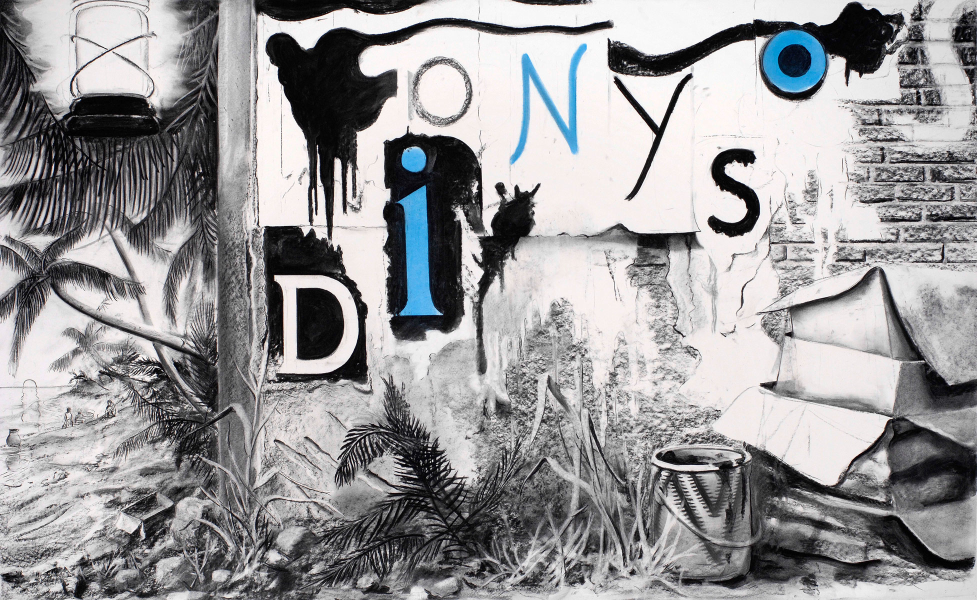 Dionysos, 2009<br>120x200cm<br>charcoal on paper