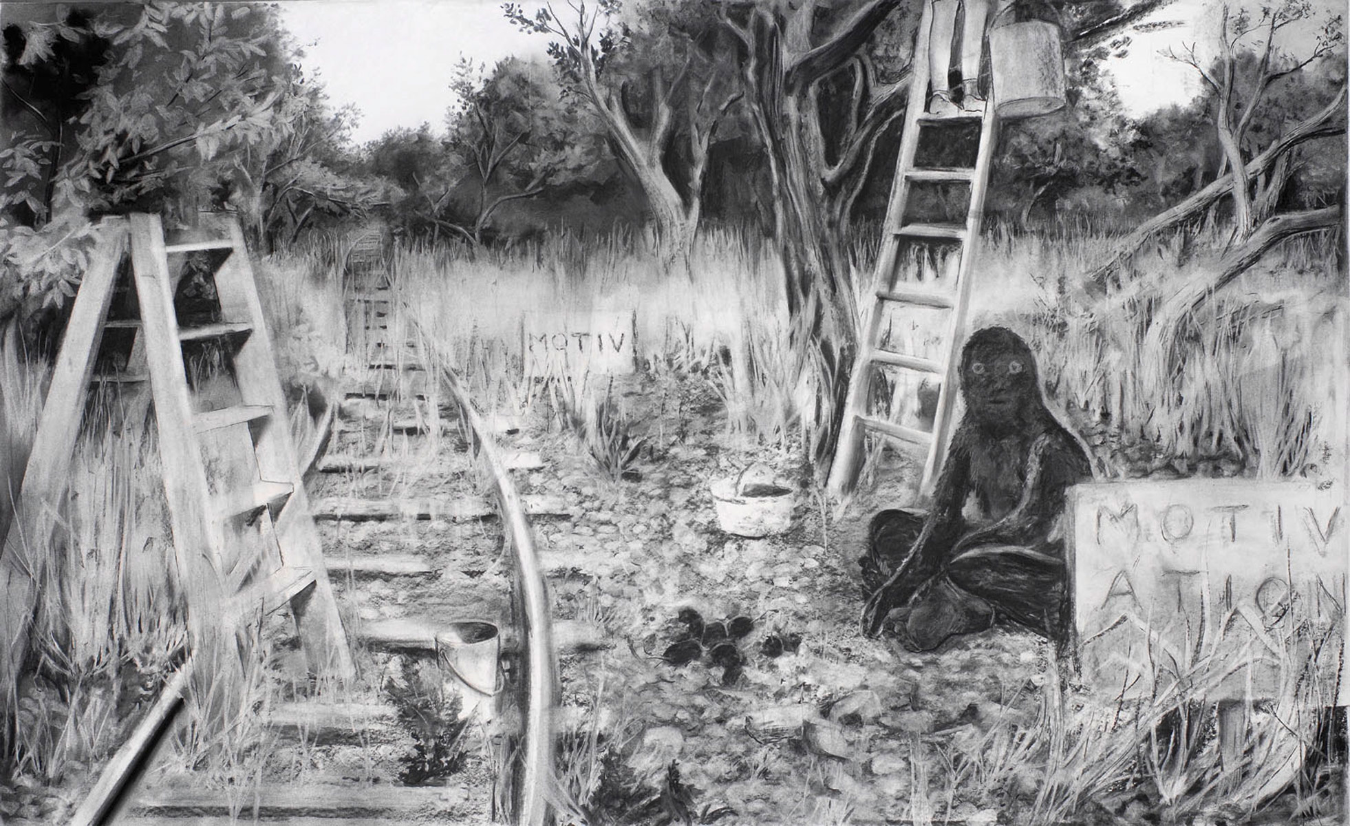Motivation, 2009<br>120x200cm<br>charcoal on paper