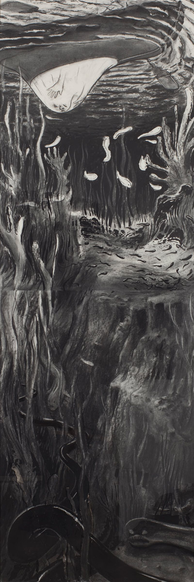 Leviathan, 2010<br>190x50cm<br>ink,charcoal-on-paper