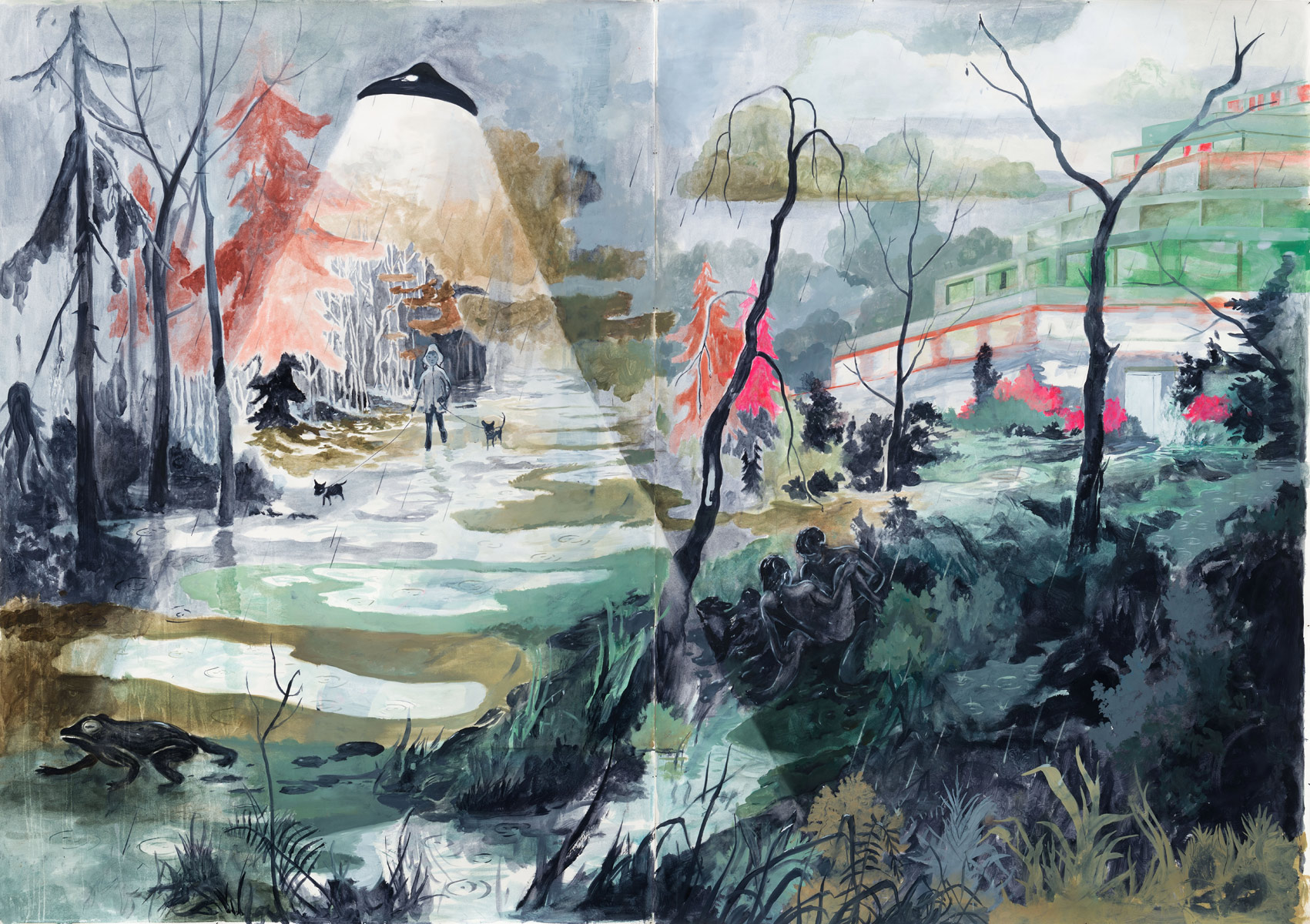 The green-gray Day, 2014<br>280x395cm<br>oil on paper