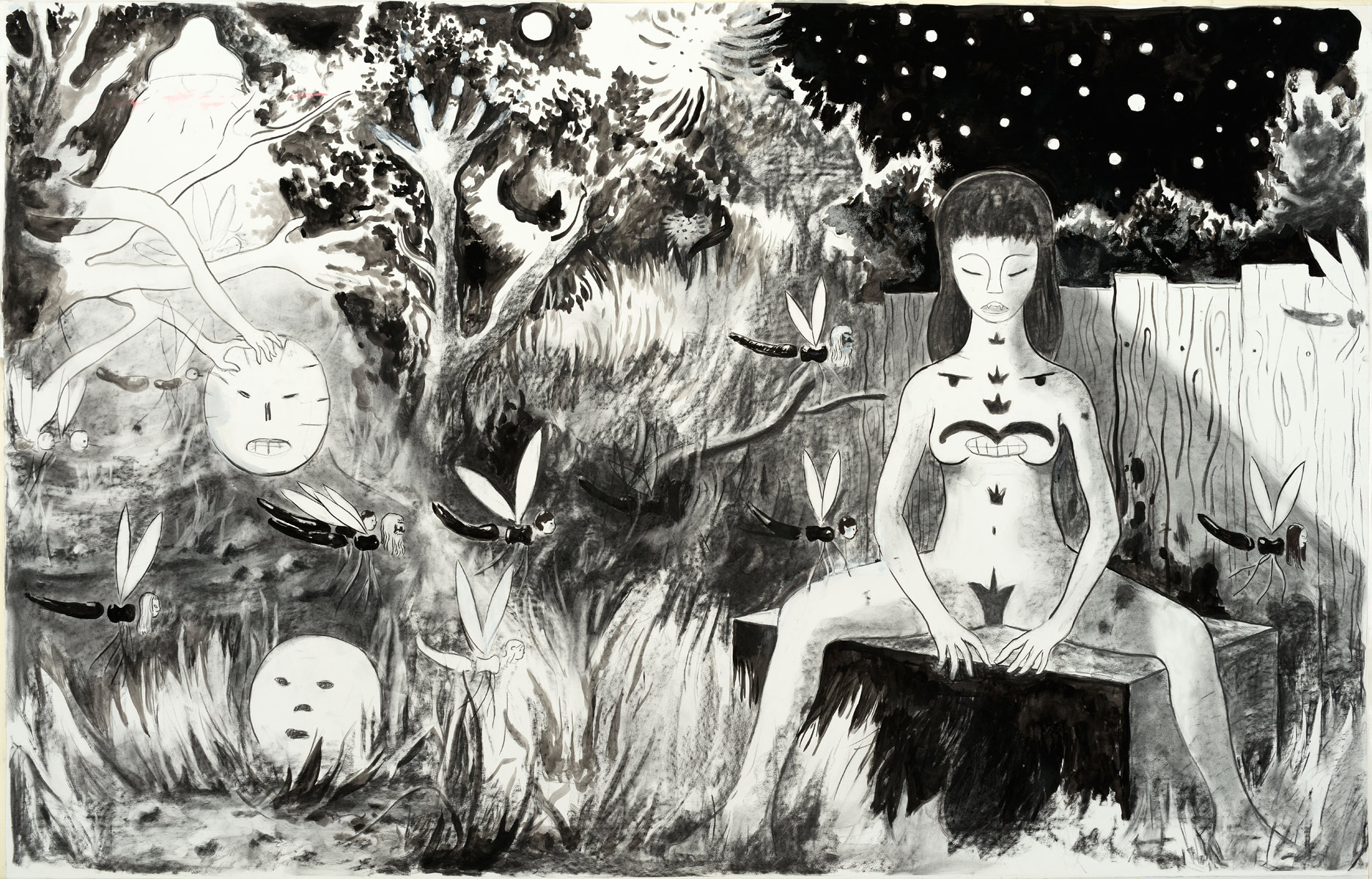 Nachtschwärmer, 2015<br>140x220cm<br>Charcoal, ink, oil and pigment on paper