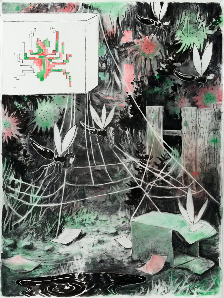 Spinnenstrasse, 2015<br>140x100cm<br>Charcoal, ink, oil and pigment on paper