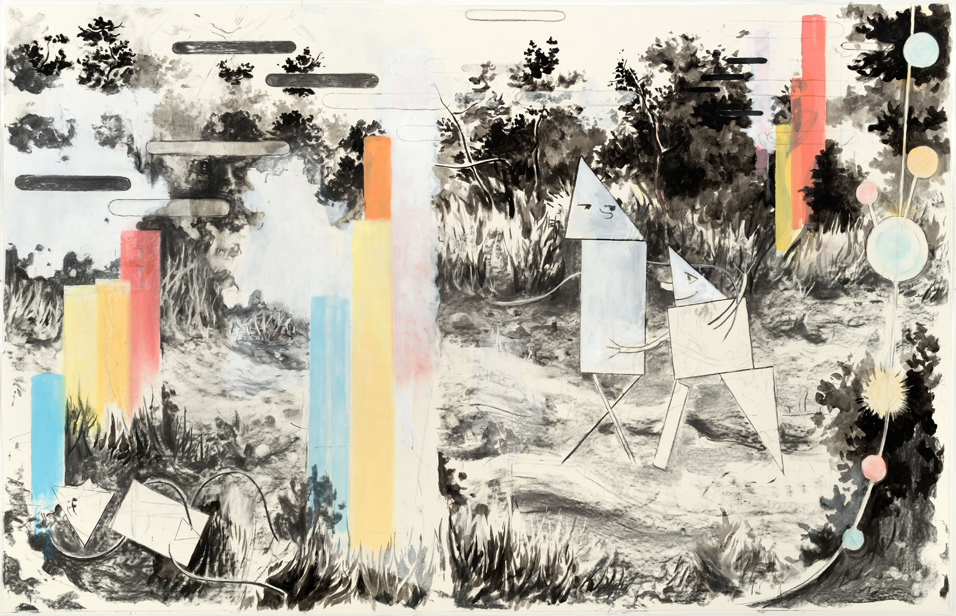 Vabanque, 2015<br>140x220cm<br>Charcoal, ink, oil and pigment on paper