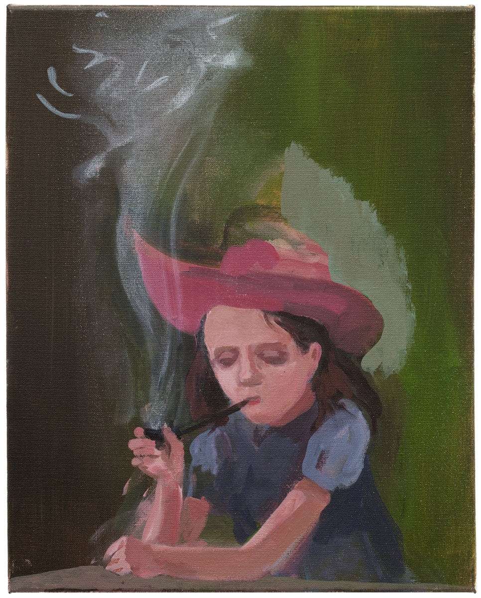 Girl with Pipe, 2017<br>oil on canvas<br>50x40cm