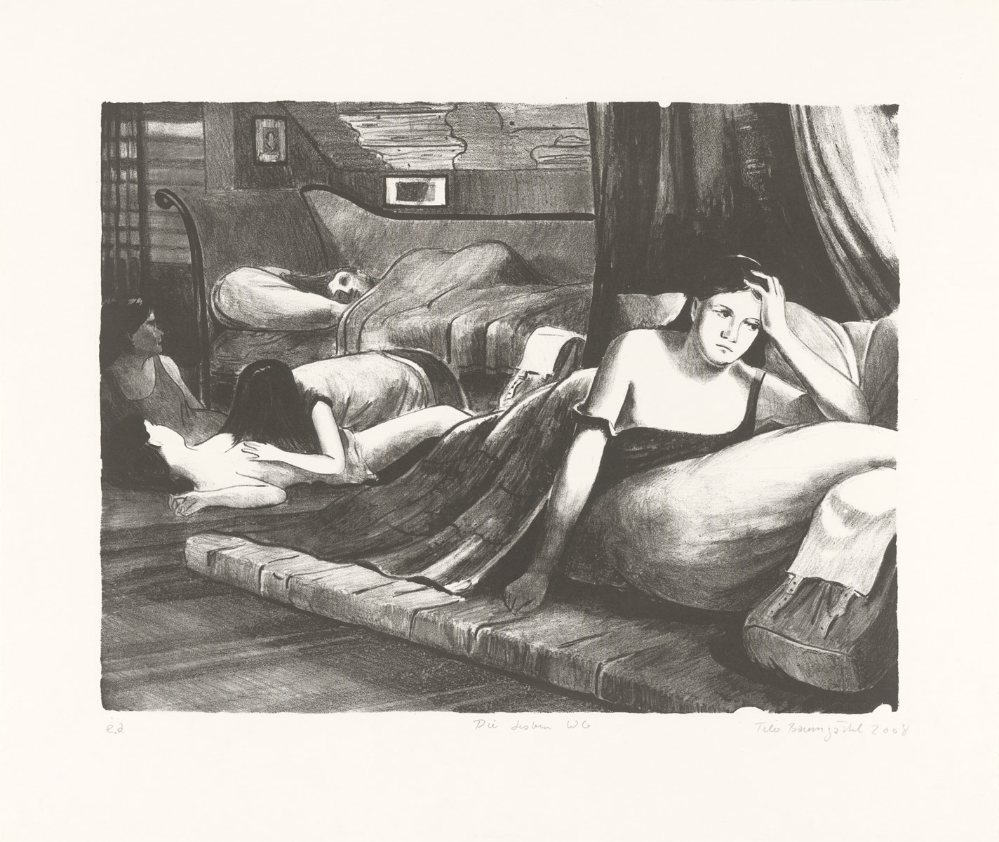 Lesbian flat share, 2008<br>37x45cm<br>lithographic print