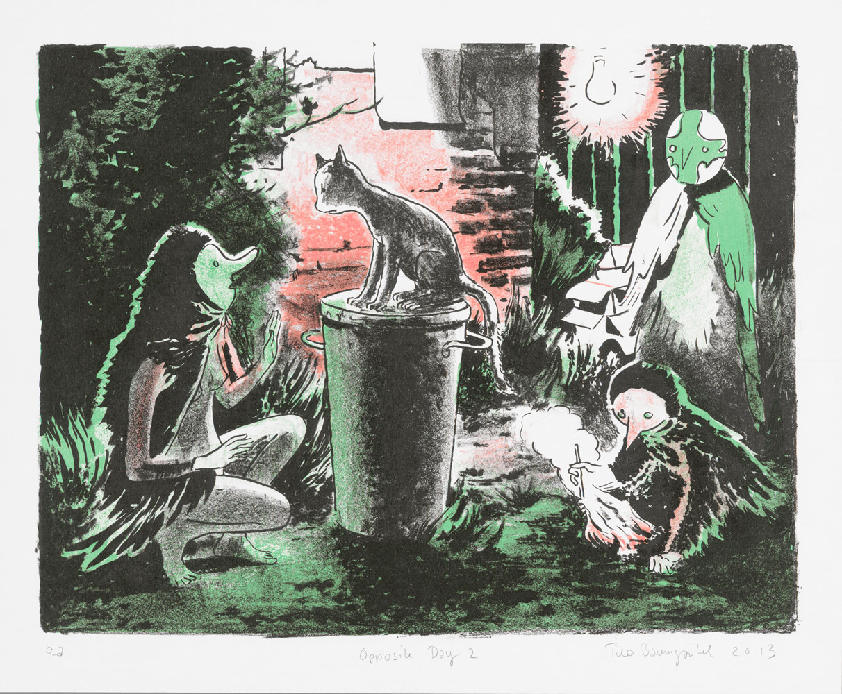 Opposite Day, 2013<br>25x34cm<br>lithographic print