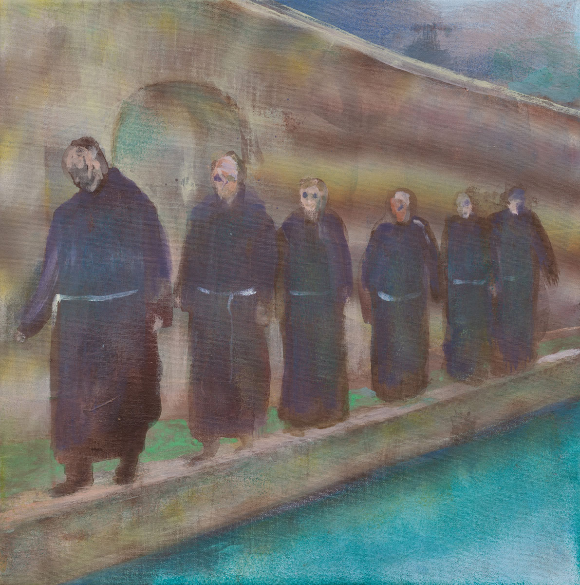 untitled (monks), 2018<br>39,5x39,5cm<br>Acrylic on canvas