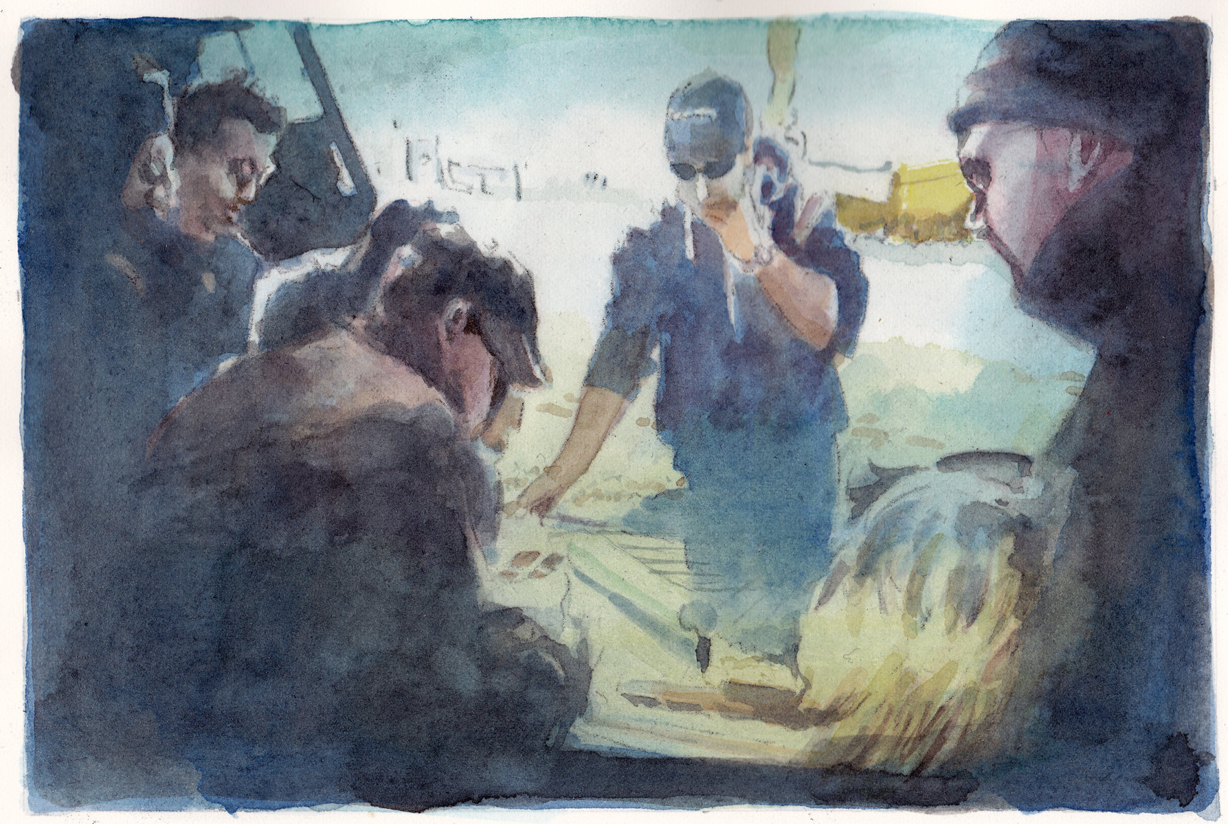 Crew, 2014<br>12x18cm<br>Water color on paper
