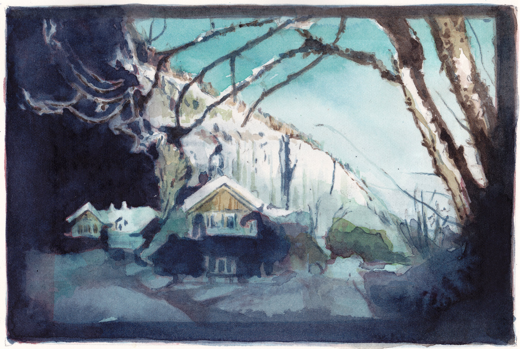 House in the Snow, 2014<br>12x18cm<br>Water color on paper