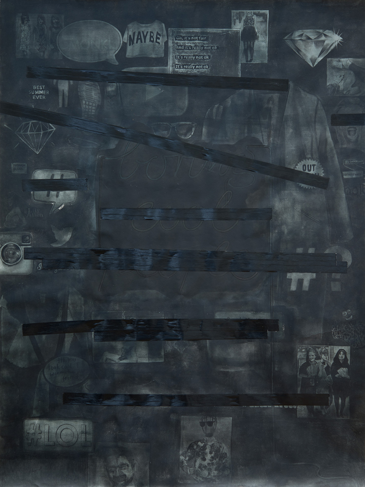 Maybe, 2014<br>74x59cm<br>charcoal, acrylic and tape on paper