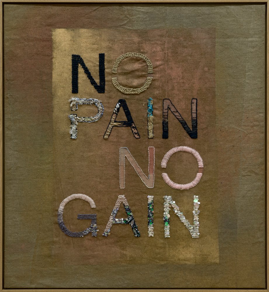 No Pain No Gain, 2014<br>110x120cm<br>embroidery