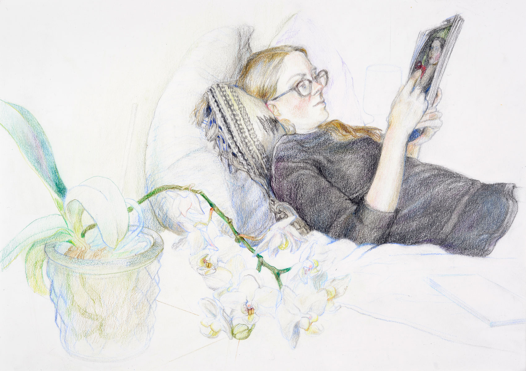 Lisa reading, 2018<br>32x40cm<br>Crayon on paper