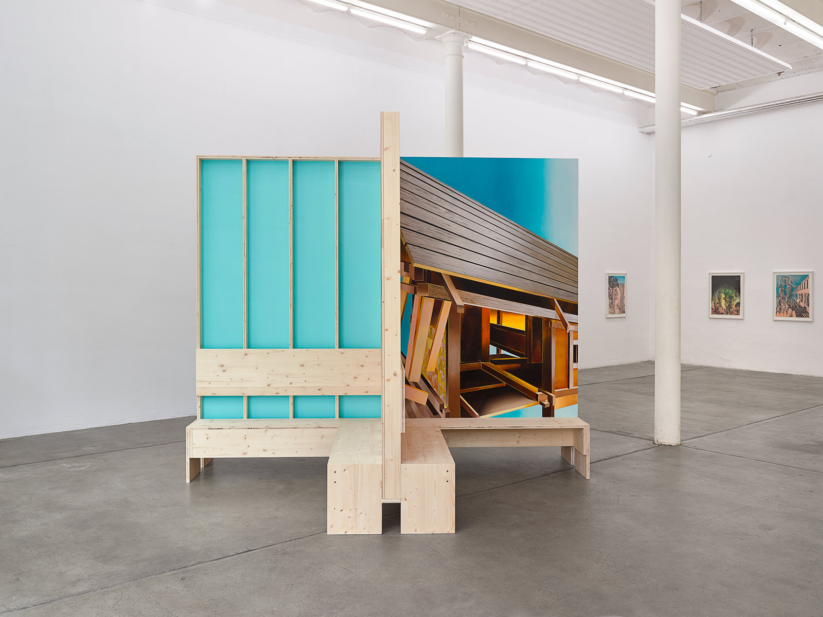 BENCH, 2015<br>Construction: Laminated wood/Painting: Acrylic on mdf<br>270x329x329cm