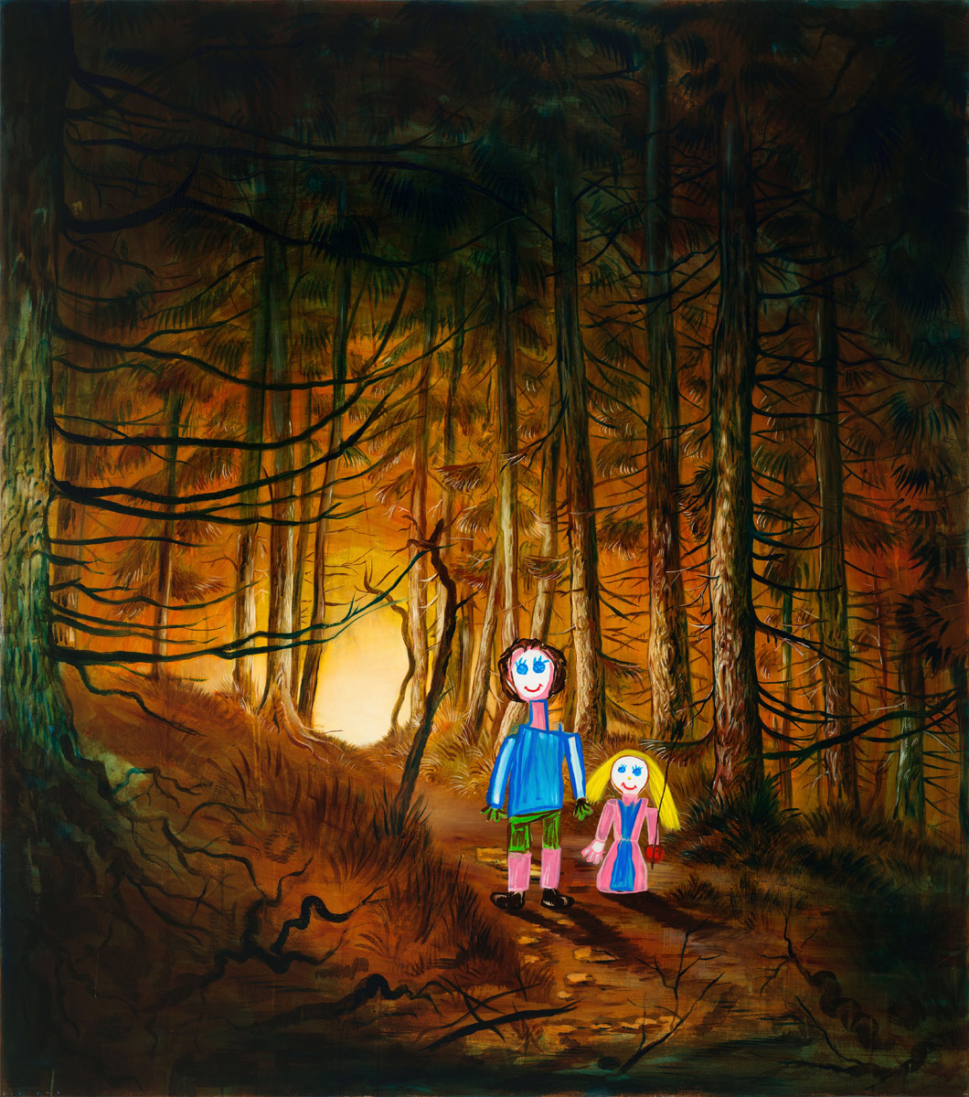 Hansel and Gretel, 2014<br>170x150cm<br>oil and egg tempera on canvas